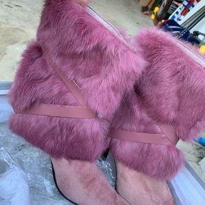 Pink fur suede booties